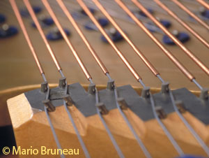 Bass bridge of Bluthner grand piano circa 1893